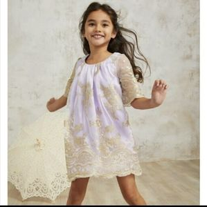 Chasing fireflies gold lace girl's dress sleeves
